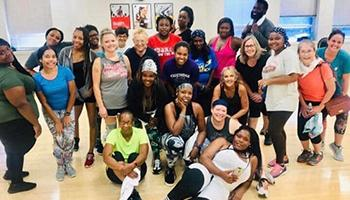 Group of people after a group fitness class
